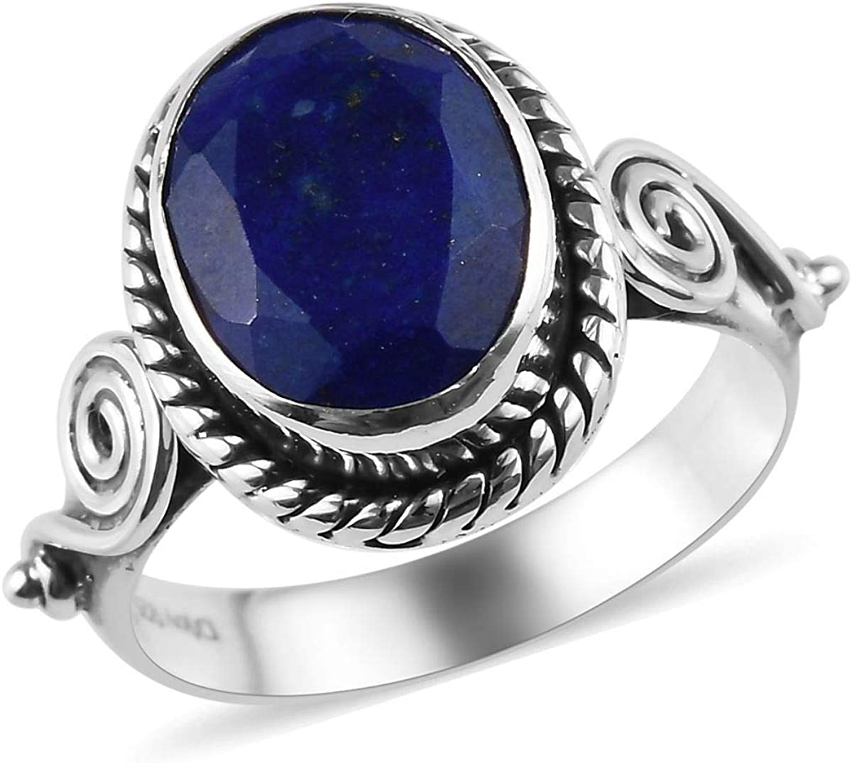 925 Sterling Silver Oval Lapis Lazuli Oxidized Engagement Ring for Women Handmade Fashion Jewelry Cttw 2