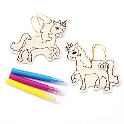 Darice Kids Wood Ornament Kit Unicorn Makes 2 (6-Pack) 9190-794D: Toys & Games