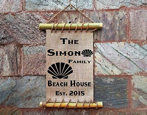 Personalized Family Beach House Sea Shell sign Framed Burlap Art Print - Bamboo Framed Home Decor - Housewarming Gift - Vacation Home - Lake House ()
