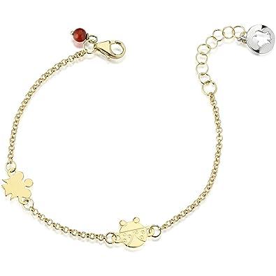 Bracciale COCCINELLA bambino in oro giallo braccialetto baby bimba portafortuna