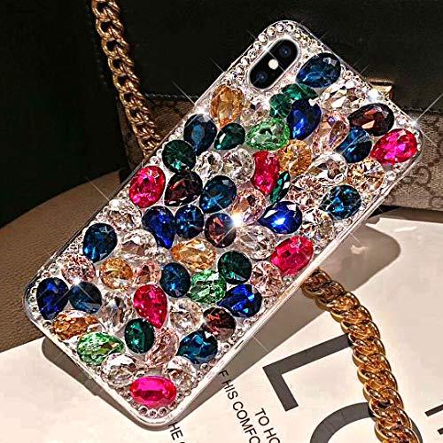 ikasus Case for iPhone Xs Max,iPhone Xs Max Diamond Case,3D Handmade Bling Rhinestone Diamonds Luxury Sparkle Case Girls Women Full Crystal Bling Diamond Case Cover for iPhone Xs Max,Colorful (Iphone 3 Jeweled Case)