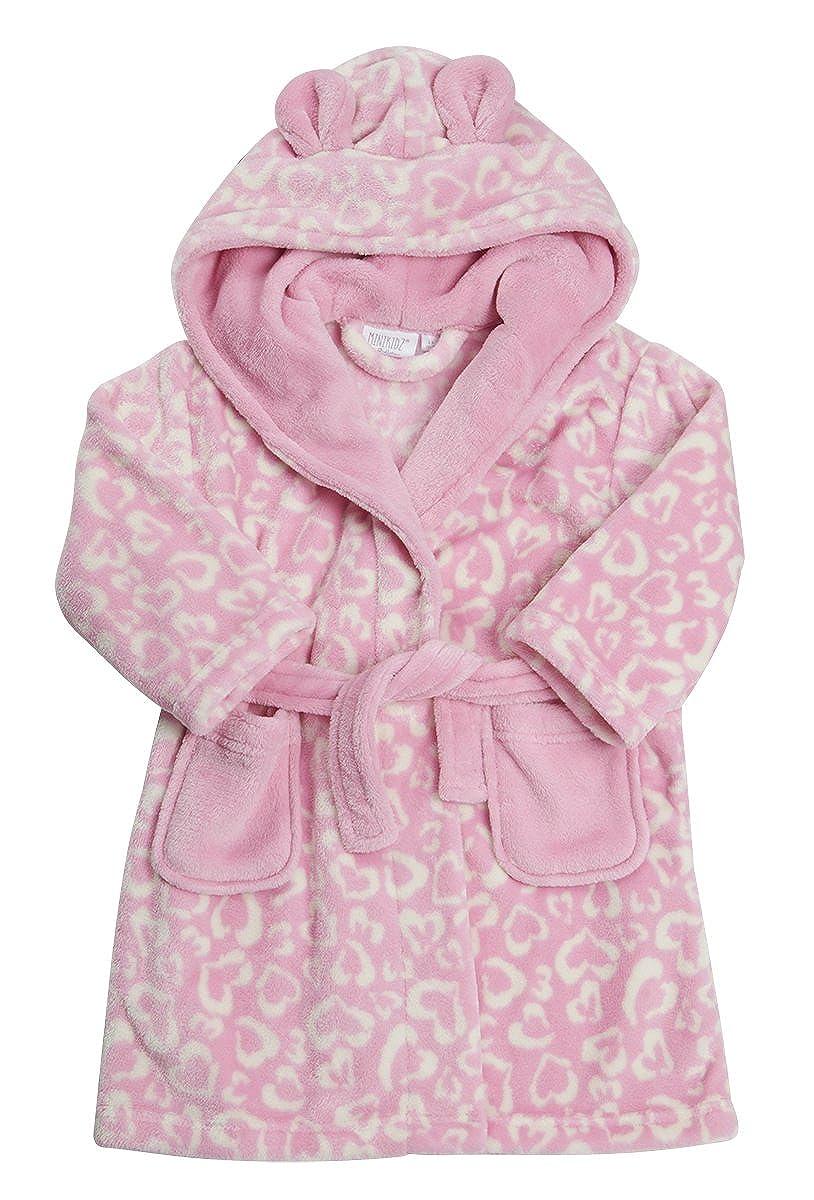 MiniKidz Girls Childrens Heart Love Leopard Print Robe
