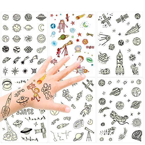 150PCS Glow in the Dark Space Tattoo for Kids, Konsait Luminous Solar System Universe Outer Space Temporary Tattoos for Boys Girls Stockings Stuffers Goody Filler Birthday Party Favor Supplies