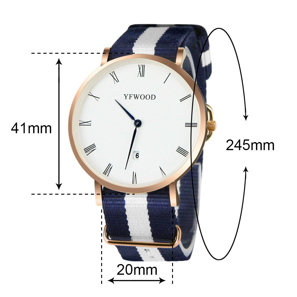 Quartz Watch Nylon Band Unisex Wrist Watch Classic Casual Waterproof Watch Round Dial Business Watch by THAITOO (Image #6)