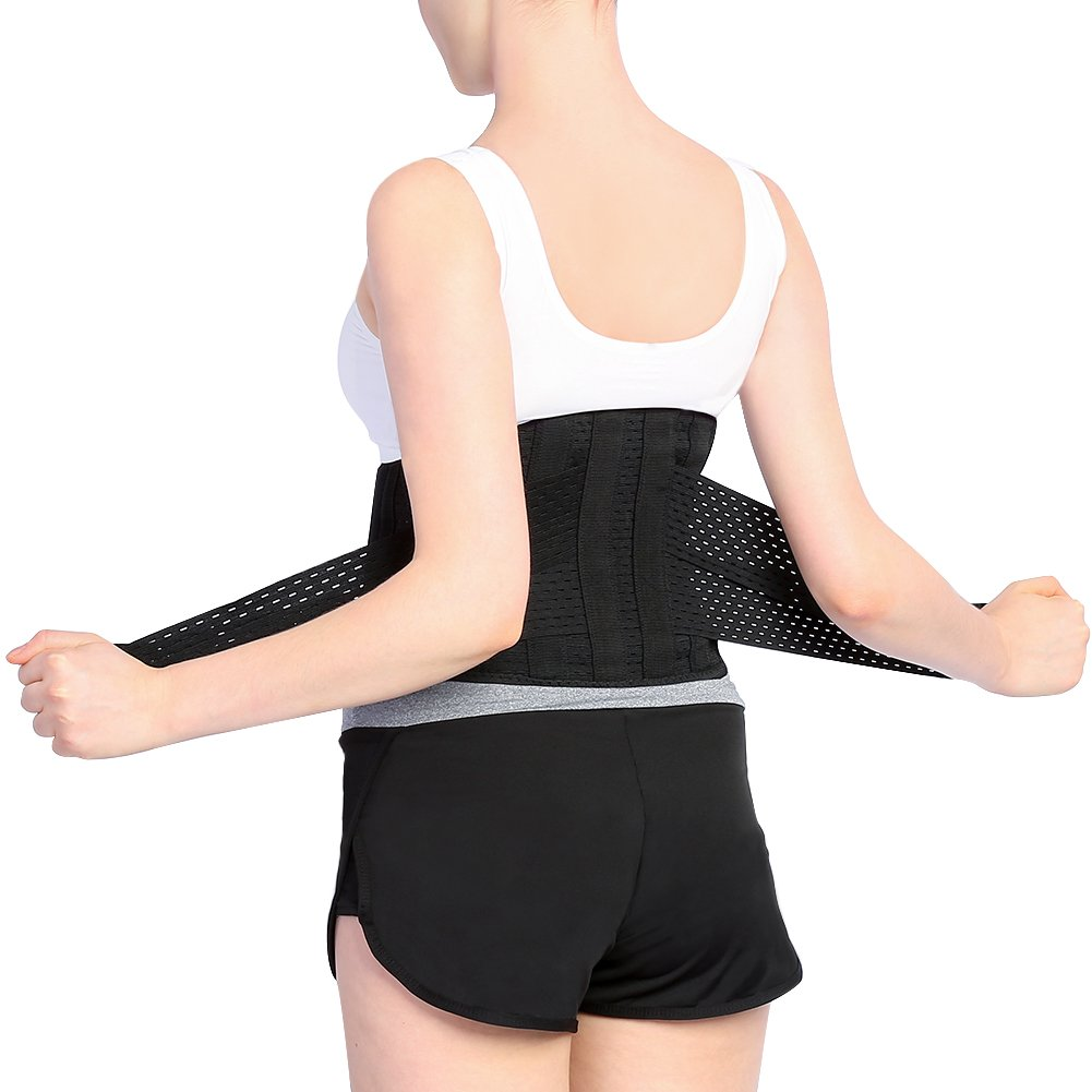 Back Brace Breathable Lumbar Support Belt for Lower Back Pain Features Double Adjustable Compression Straps and Mesh Bag Fits Men and Women