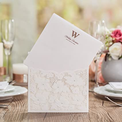 wishmade 12x elegant white laser cut wedding invitations cards kit with pearls and lace cardstock for