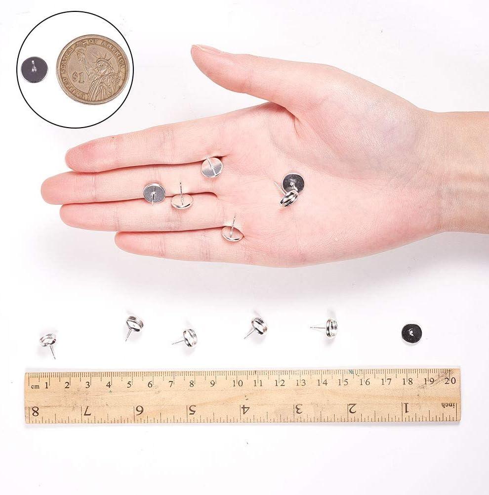 Lot de 20 Clous doreilles en Laiton Argente 12mm PandaHall Support de Cabochons 12mm