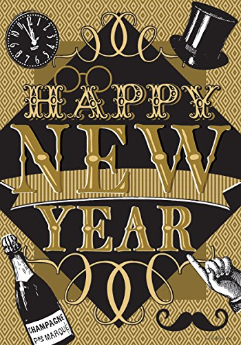 Happy New Year - STANDARD Size, 28 Inch X 40 Inch, Decorative Double Sided Flag MADE IN USA by Custom Décor Inc. -