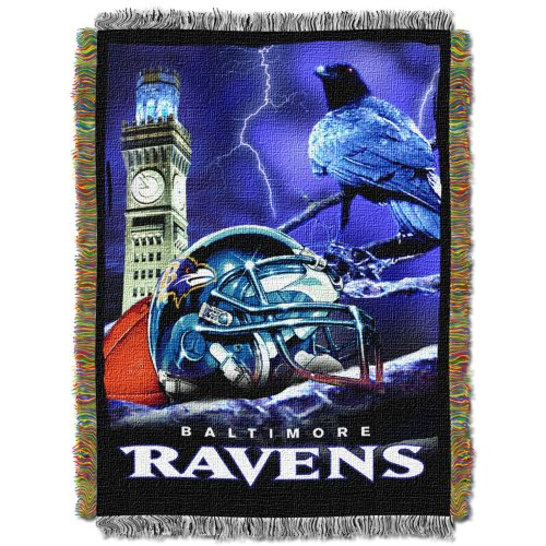 The Northwest Company Officially Licensed NFL Baltimore Ravens Home Field Advantage Woven Tapestry Throw Blanket, 48