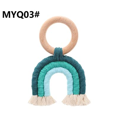 Simdoc Rainbow Tassel Macrame Wooden Baby Teether Cotton Cord Wooden Teething Toy Baby Shower Gift : Baby