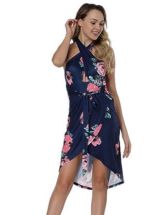 a85ff68929 ORICSSON Floral Maxi Dresses For Women, Boho Sexy Cross Halter Sleeveless  Split Backless High Low Beach Summer Midi Multiway Dress: Amazon.co.uk:  Clothing