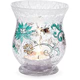 Mark My Words 3-3/4-Inch Tall Hurricane Crackled Glass Candle Holder, Faith Hope Peace Sentiment