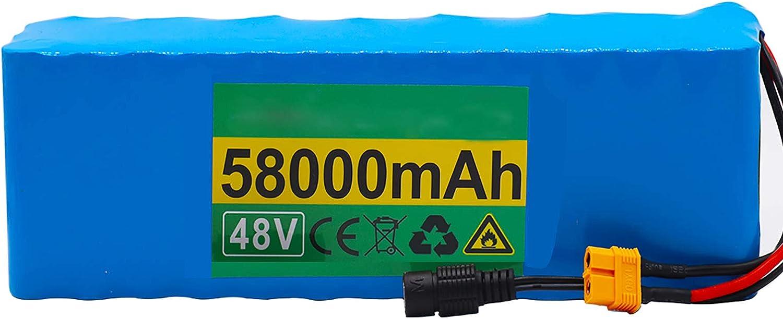 FREEDOH Paquete Batería Litio Bicicleta Eléctrica Paquete Batería Iones Litio 48 V 58 Ah Adecuado para Kart MTB Modelo Avión Bicicleta Eléctrica con Cargador 54,6 V 2 A
