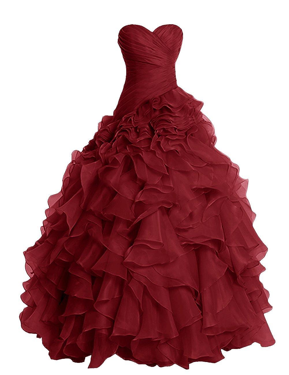 Burgundy Dresstells® Long Prom Dress Fluffy Bridesmaid Dress Wedding Dress with Ruffles