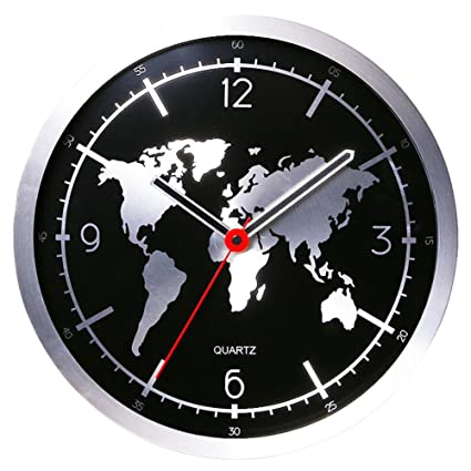 Amazon mcc round wall clock aluminum alloy world map 12 inches mcc round wall clock aluminum alloy world map 12 inches black gumiabroncs Image collections