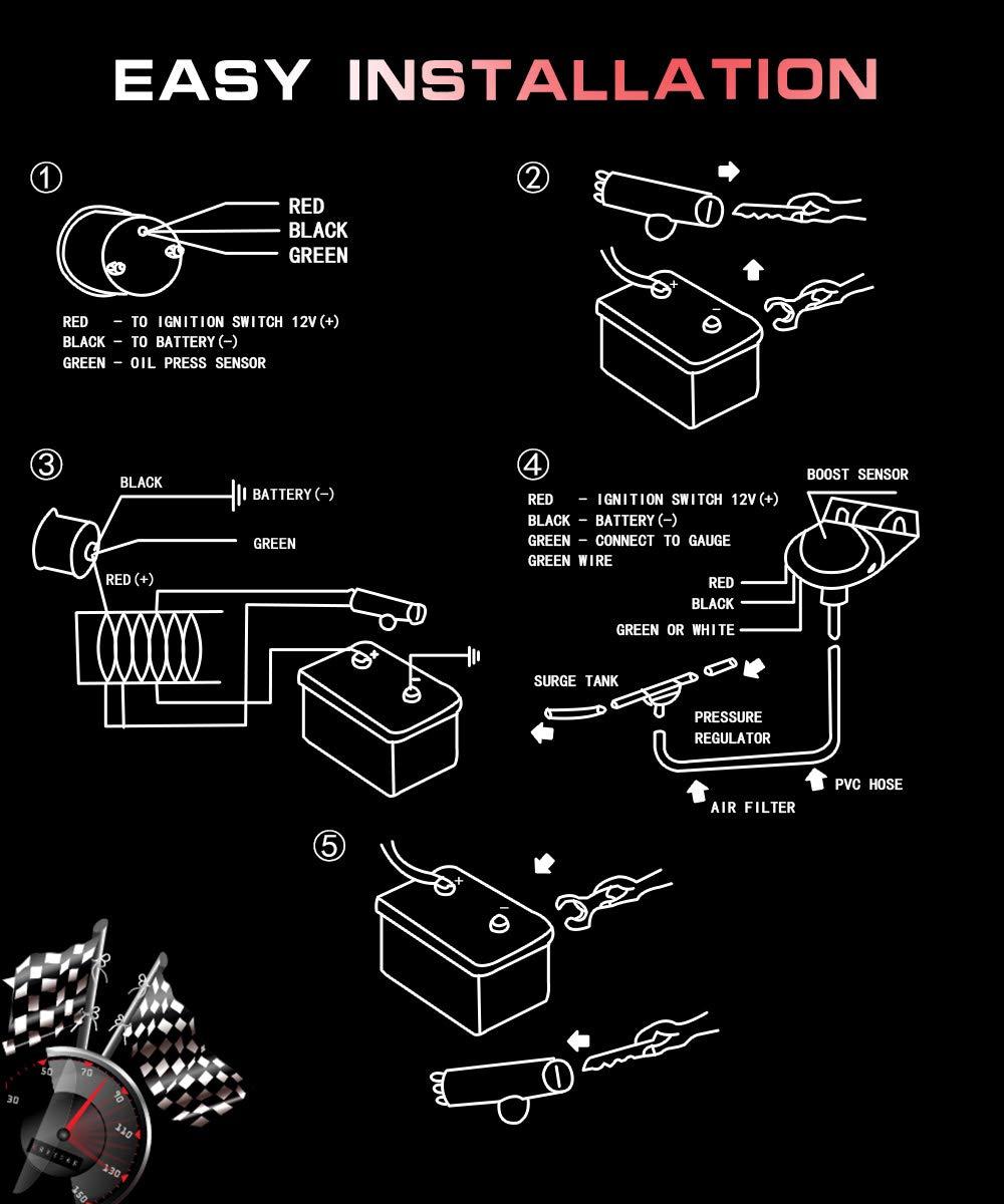 HOTSYSTEM 7 Color Turbo Boost//Vacuum Gauge Kit Pointer /& LED Digital Readouts 2-1//16 52mm Black Dial for Car Truck