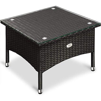 Polyrattan Tisch Mit Glasplatte.Deuba Polyrattan Tisch Beistelltisch Rattan Teetisch Gartentisch Glasplatte 50x50x45cm Schwarz Garten Möbel