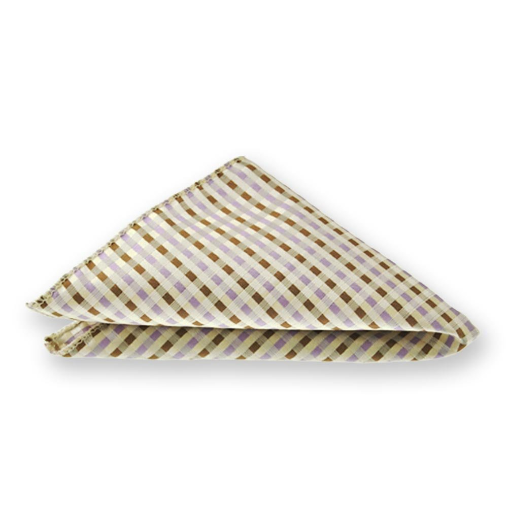 TieMart Cream George Plaid Pocket Square