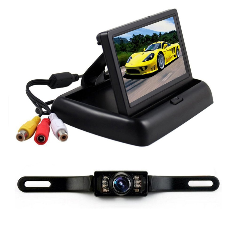 Podofo 4.3 inch Car Monitor with Backup Camera License Plate Parking Reverse Vehicle Rear View Camera Night Vision
