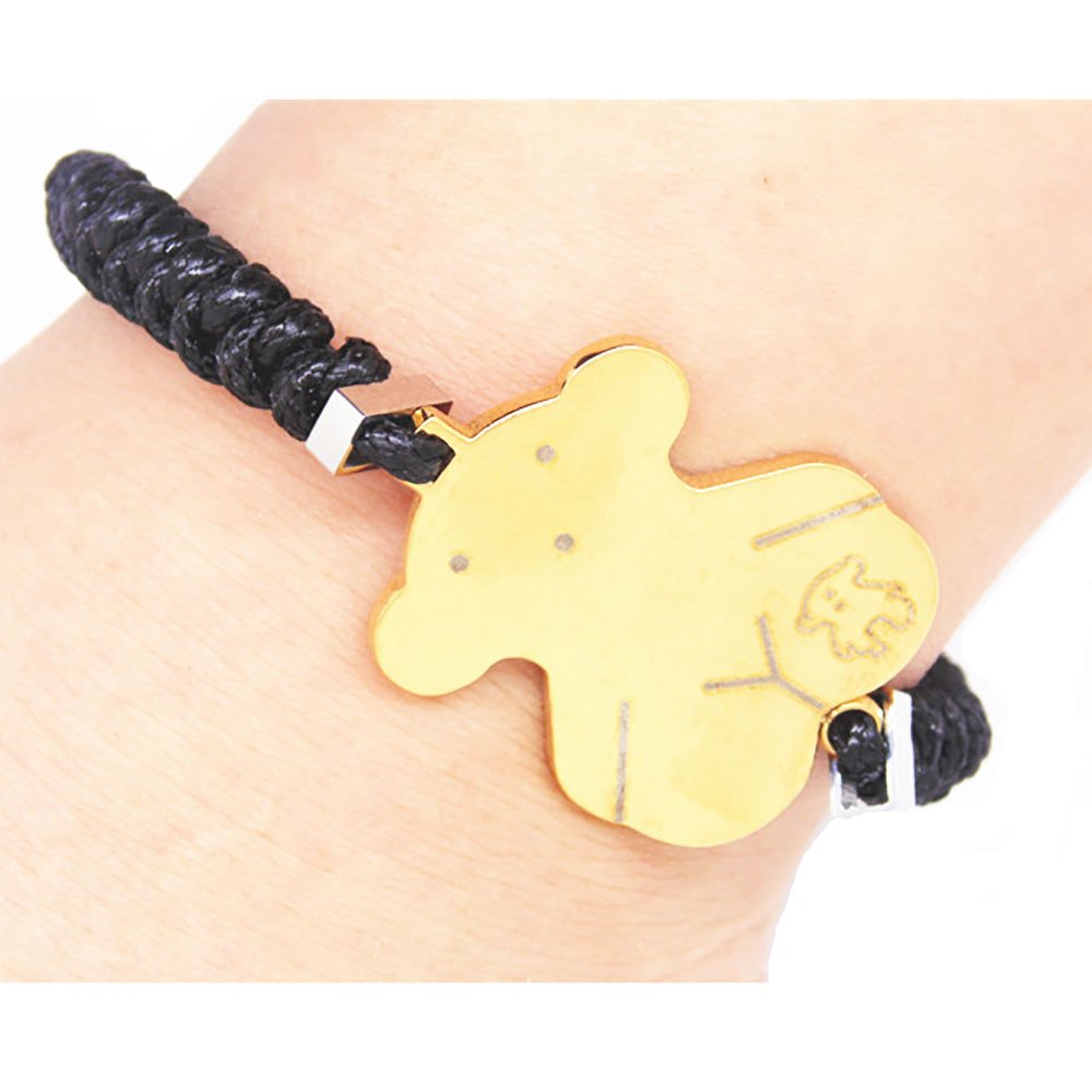 JQ Black Woven Leather Lovely Bear Charms Bracelets For Girls Junqi Jewelry 20160506003