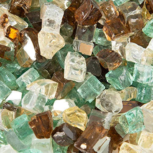 Stanbroil 10-Pound 1/4 Fire Glass Blended Gold,Light Green,Copper Reflective for Indoor and Outdoor Gas Fire Pits and - Glass Fireplace Fire