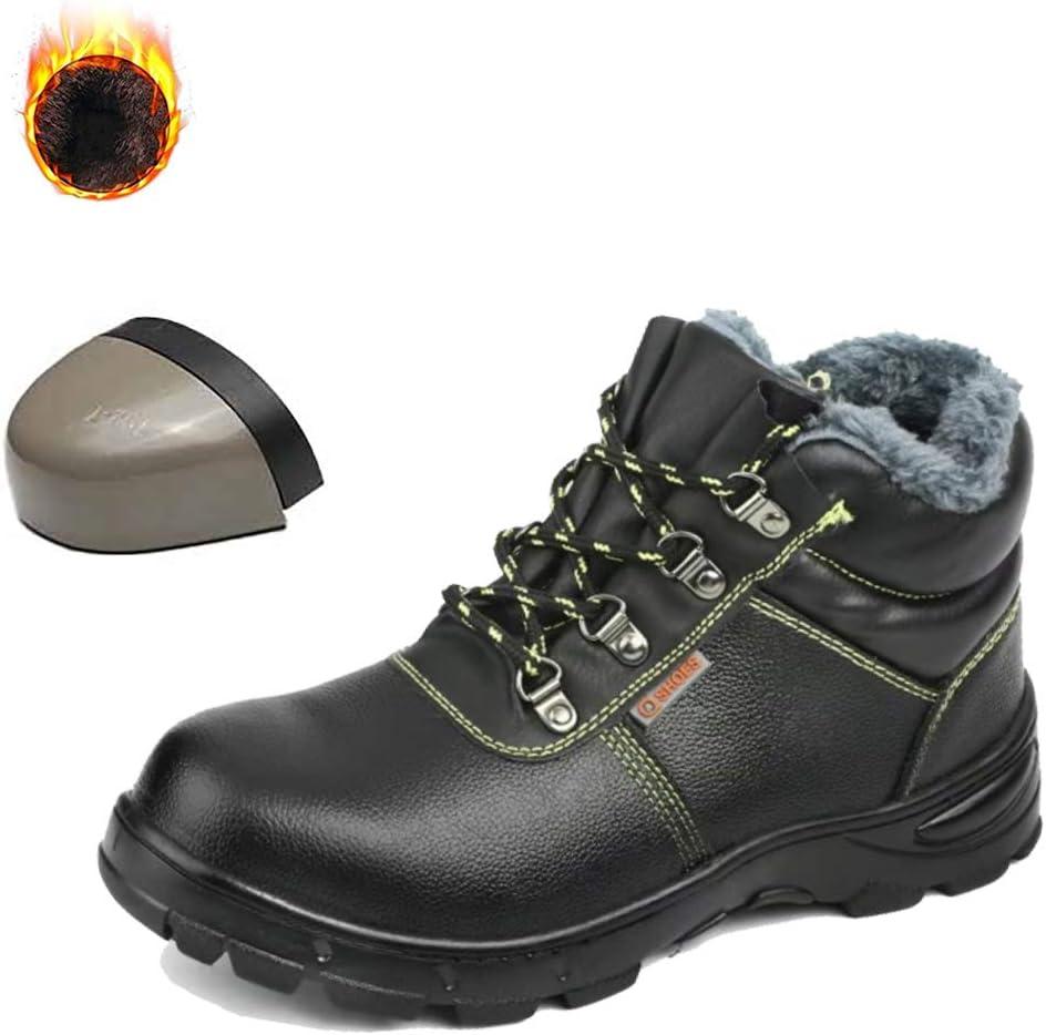 JIEFU Zapatos de Seguridad para Hombres Botas de Trabajo Anti-Smashing con Puntera de Acero Botas de Nieve Invierno Forradas con vellón de Cuero de PU para construcción Industrial,Black1,9.5UK: Amazon.es: Hogar