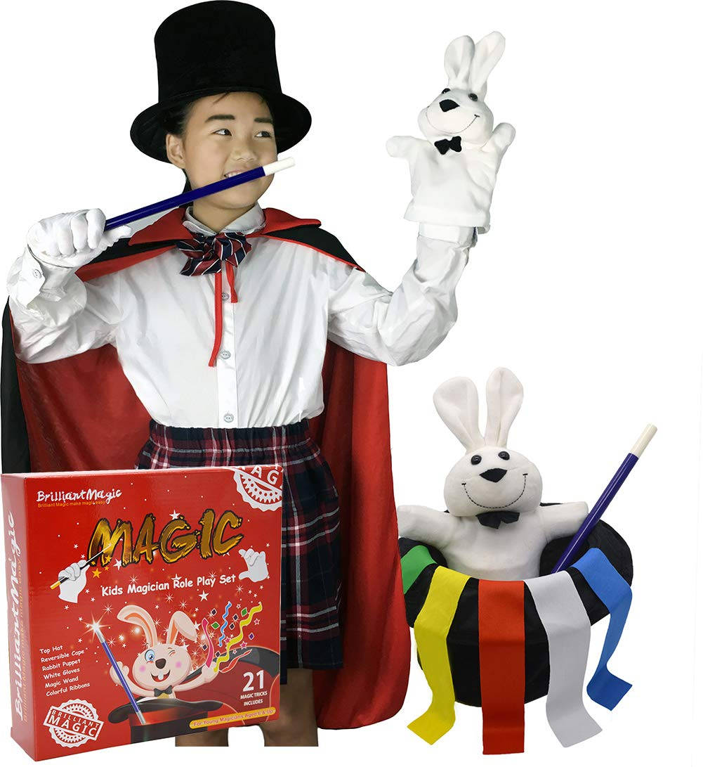 """BrilliantMagic Kids Magician Role Play Set with Magic Cape Top Hat Rabbit Magic Wand Gloves and Coloring Ribbons(Small Cape 35"""" Length) BMM006"""