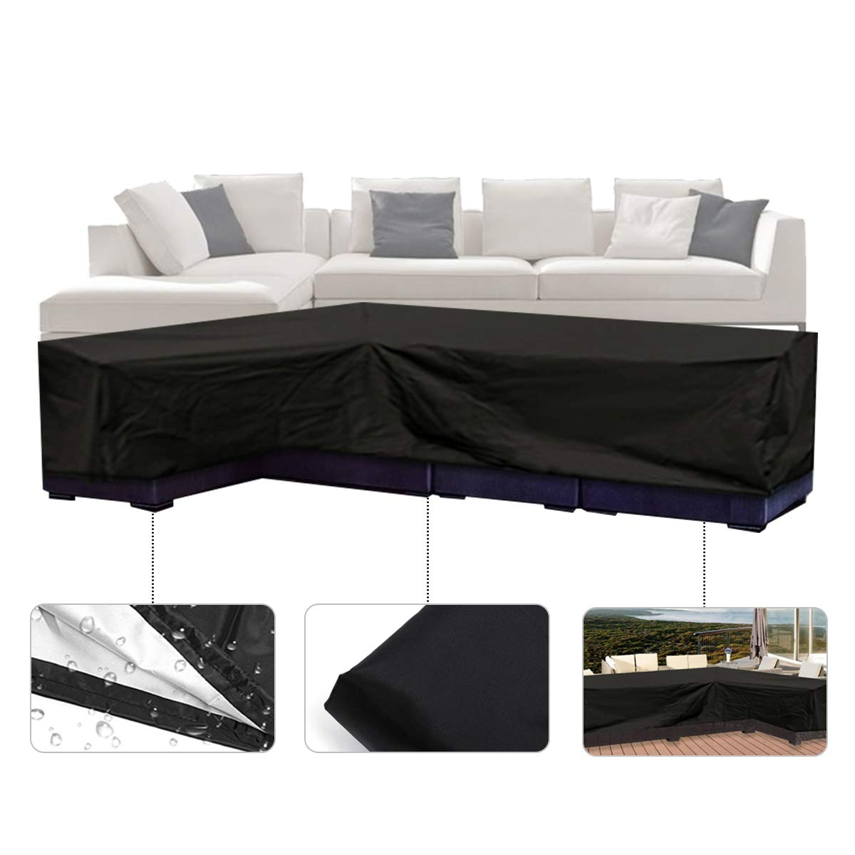 ESSORT Patio Cover, Large Outdoor Sectional Furniture Set Cover, Table Chair Sofa Covers, Waterproof Dust Proof Anti UV/Wind, Protective Cover for Garden (78''x106''x35'' L-Shaped Sofa Cover) by ESSORT