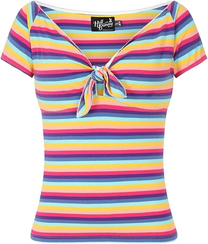 50s Shirts & Tops Hell Bunny Harmony Rainbow Stripe Pinup Rockabilly Vintage 50s Retro Bardot Top £23.99 AT vintagedancer.com