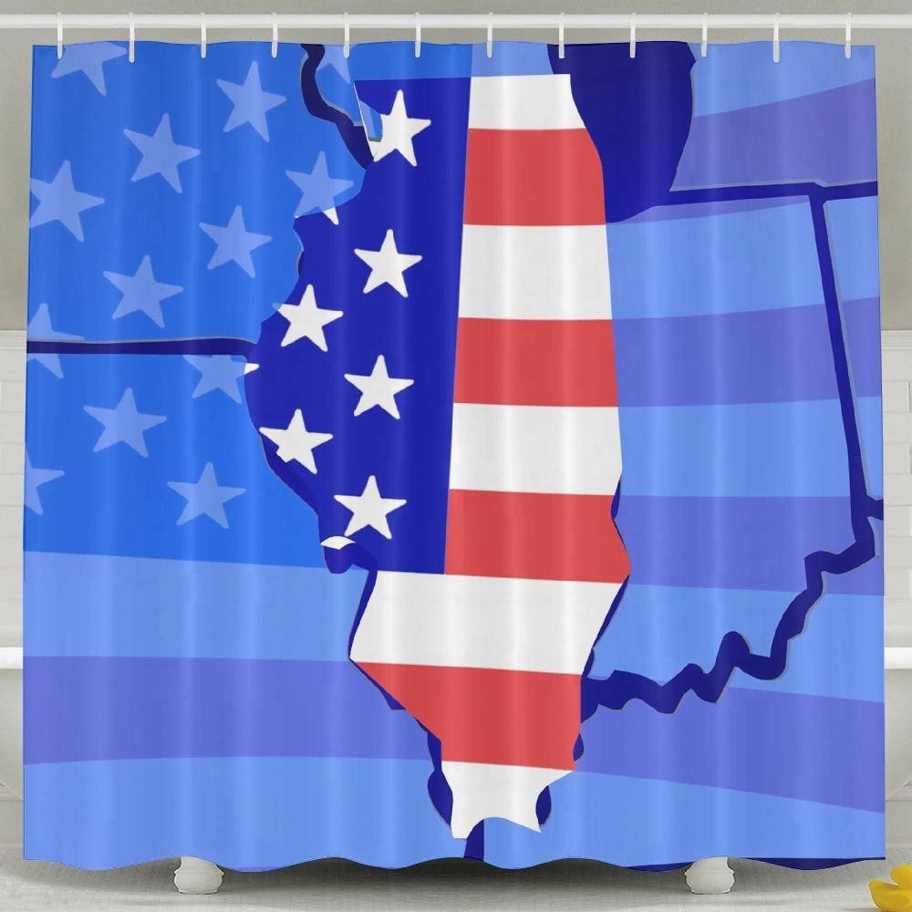 BINGO FLAG Funny Fabric Shower Curtain United States Flag Map Waterproof Bathroom Decor With Hooks 60 X 72 Inch