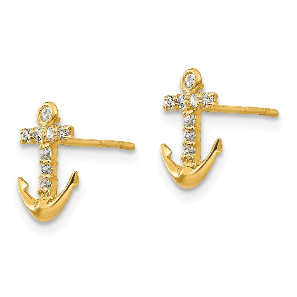 14K Yellow Gold Madi K Childrens 6 MM CZ Anchor Post Stud Earrings