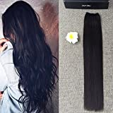 Full Shine 16 inch Width 11 inch Flip on Hair Extensions One Piece 80g Halo Real Off Black #1b Human Hair Double Weft Hairpieces No Clip in