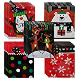 Gifts Plus Set of 20 Medium Holiday Gift Bags With Rope Handles Name Tags, Christmas Men Women Kids