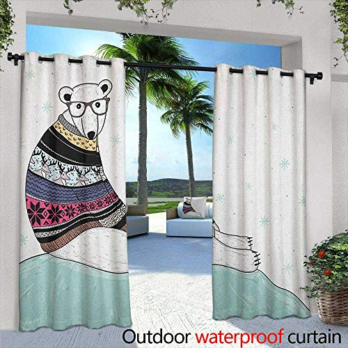 LOVEEO Bear Thermal Insulated Blackout Curtains Hipster Polar Bear with Fair Isle Style Sweater Sitting on Ice Christmas Snowflakes Waterproof Patio Door Panel 84