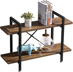 BENOSS Rustic Wood and Metal Bookshelves, Industrial Style Bookcases Furniture, Multi-Functional Shelf Units for Collection, Wide Storage Organizer Steel Frame Shelf(2 Tier)