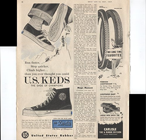 United States Rubber Run Faster Stop Quicker Climb Higher Than You Ever Thought You Could U.S. Keds The Shoe Of Champions 1959 Vintage Antique Advertisement