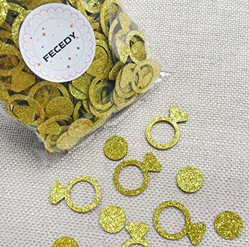 FECEDY Glittery Gold Ring Confetti for Wedding Bachelorette Party Decoration 200pcs/pack