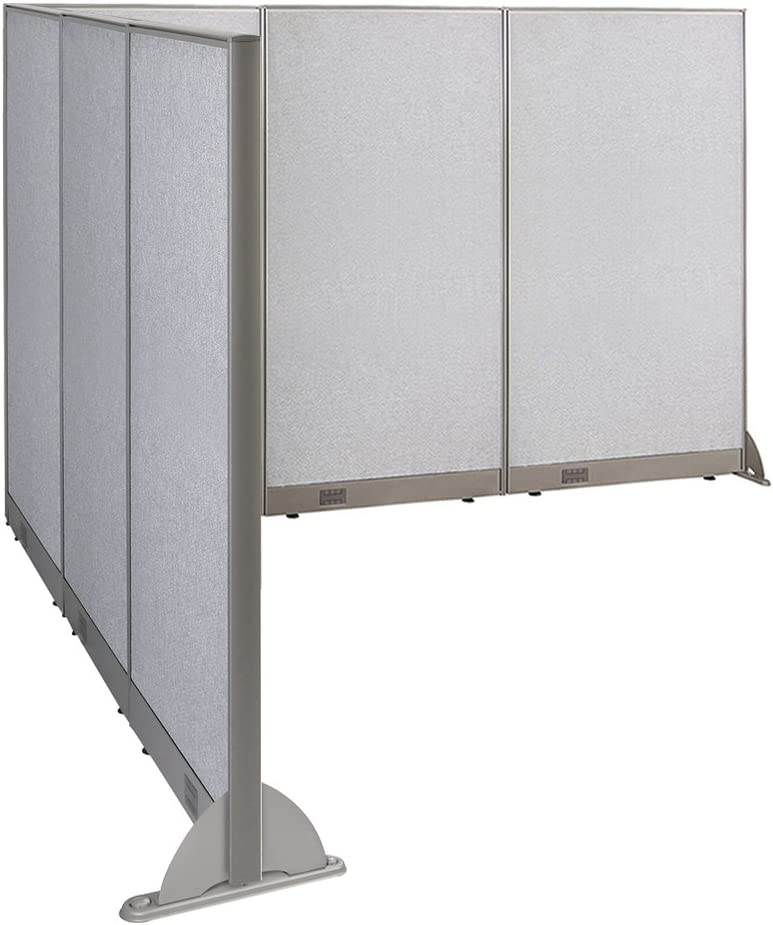 """GOF Freestanding L Shaped Office Partition, Large Fabric Room Divider Panel, 90""""D x 108""""W x 72""""H"""