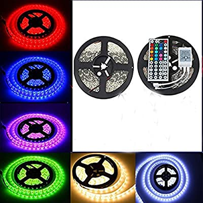 eBoTrade LED Strip Lights, RGB 10M/32.8 Ft Waterproof SMD 5050 600 LED Color Changing Flexible Rope Strip Light+44 Key IR Remote Control
