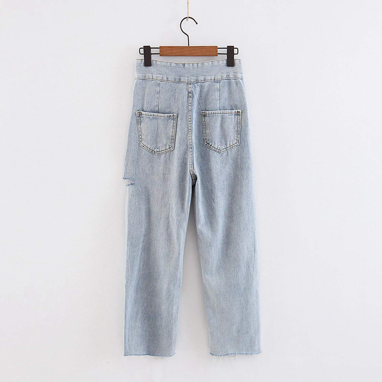 SAKURAII DUN High Waist Jeans New Button Holes Pants Female Casual Loose Jeans Wide Leg Trousers Slim Pants DK8794