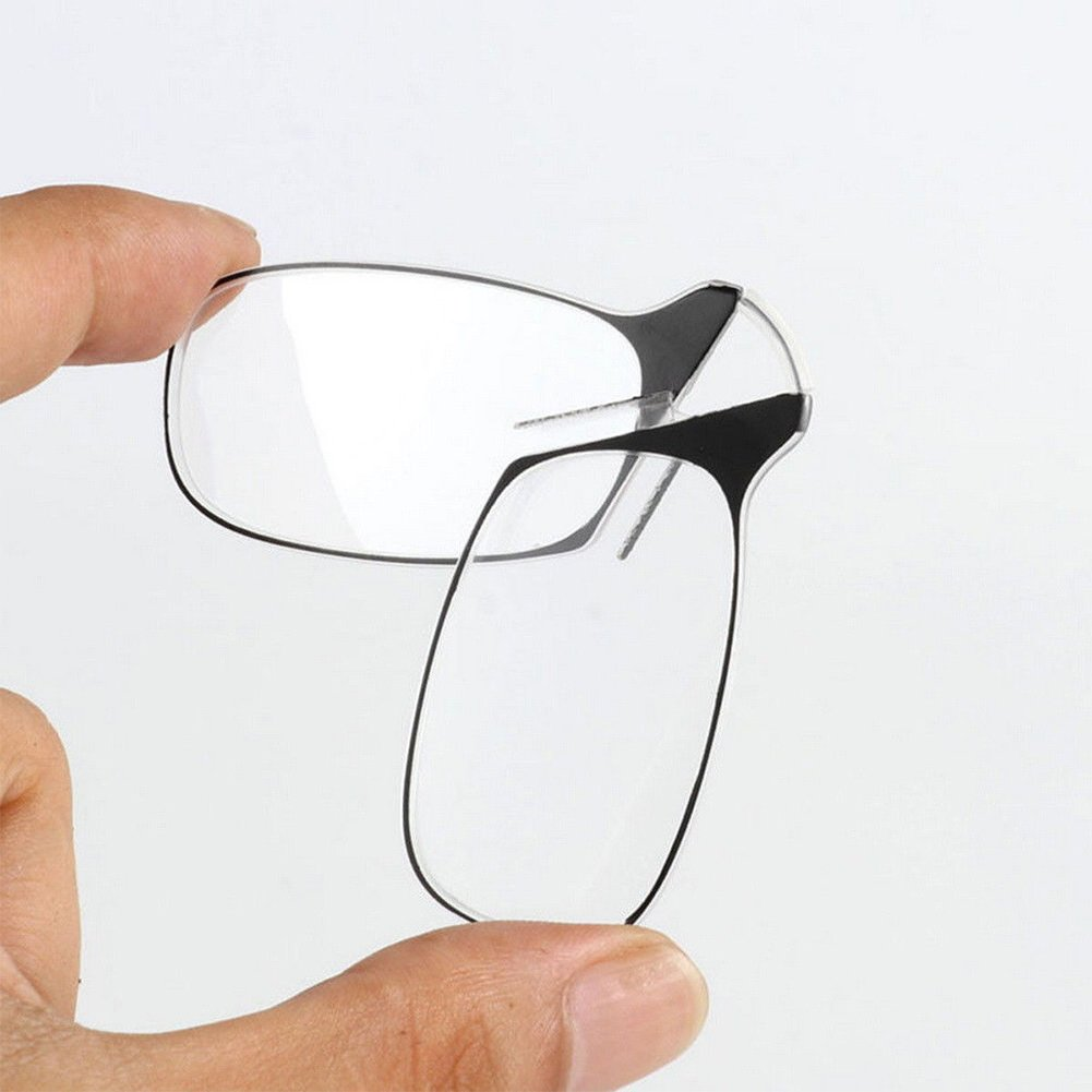Mworld2 Portable Thin Optics Reading Glasses Key Chain Mini Nose Clip Presbyopic Glasses Eyeglasses +250,Black