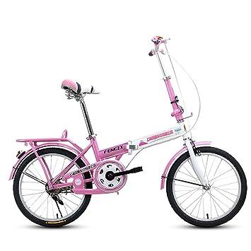 XQ F311 Blanco Y Rosa Bicicleta Plegable Adulto 20 Pulgadas Ultralight Portátil Estudiante Bicicleta para Niños