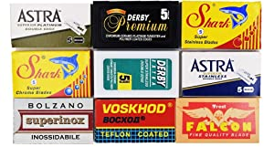 Astra-Derby-Shark-Voskhod-Bolzano-Treet 50 Quality Double Edge Razor Blades Sampler (9 different brands)
