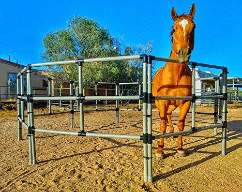 (Portable Horse Corral Box Set: Heavy Duty- 8 Panels; 3 Rails)