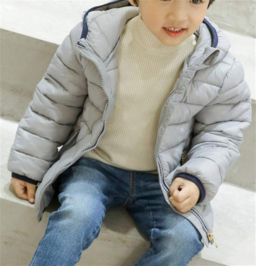 Hajotrawa Boys and Girls Winter Puffer Hooded Warm Quilted Parka Coat Jacket