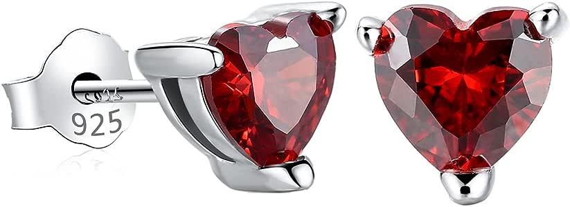 Gagafeel Red Heart Earrings for Women S925 Sterling Silver CZ Birthstone Birthday Valentine Earrings for Girls (6mm Red)