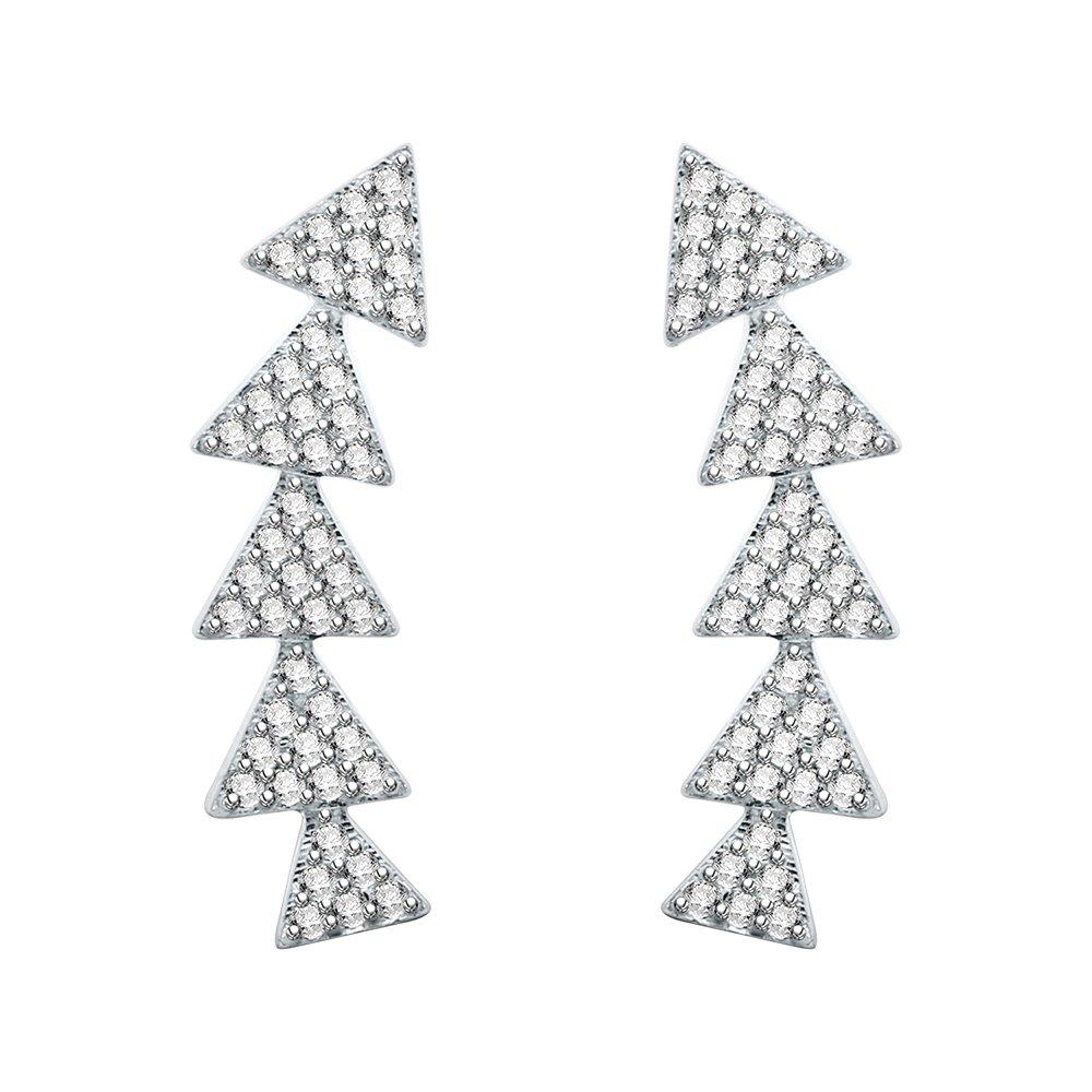 AoedeJ Multi-Triangle Ear Climbers Stud Earrings CZ 925 Sterling Sliver Ear Crawler Cuffs Earrings for Women (Style 2)