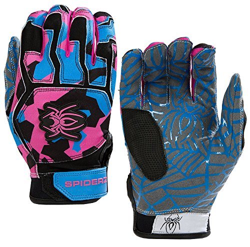 Spiderz WEB Baseball Batting Glove with Silicone Spider Web Palm (Pink/Blue/Black, Adult XX-Large)