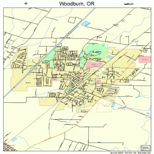 Large Street & Road Map of Woodburn, Oregon OR - Printed poster size wall atlas of your home - Map Of Woodburn Oregon