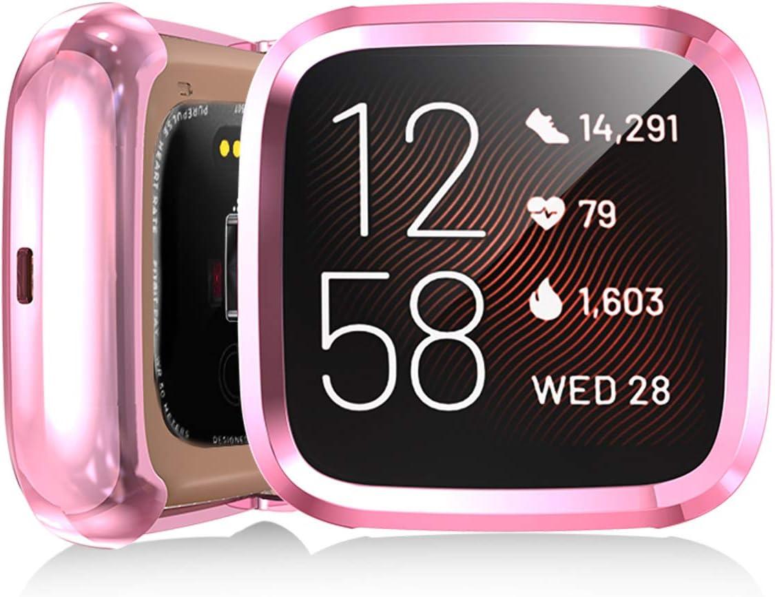 Haojavo 4 Pack Screen Protector Case for Fitbit Versa 2 Soft TPU Slim Fit Full Cover Screen Protector Case for Fitbit Versa 2 Smartwatch Bands Accessories